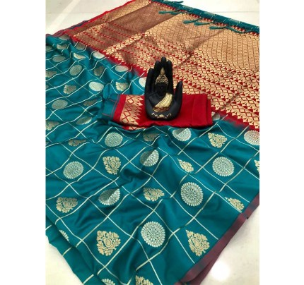 Stylish Look Cyan Colour Soft Silk with silver & gold zari weaving work saree