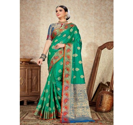 Wedding Designer Green Color pure  soft silk weaving Saree