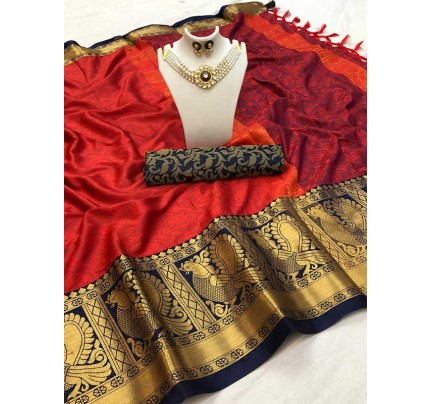 New Trending Cotton Silk Saree With  Free gift jwellery