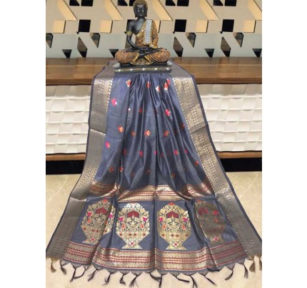 Elegance Look Grey Colour Handloom Cotton Weaving Paithani Saree