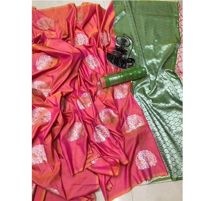 Graceful combination for Wedding Look Pink Color Lichi Silk Weaving Jecard Saree With Beautiful Wiaving Blouse