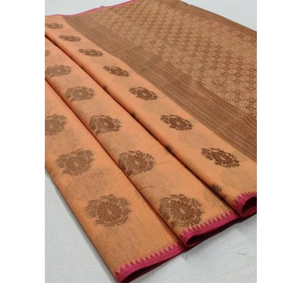 Elegance Look Peach Colour Soft Cotton Silk Saree