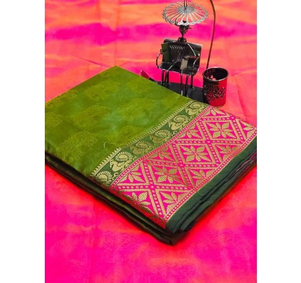 Stunning Green Color Soft Cotton Silk Saree with weaving