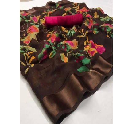 Stunning Multi Color Soft Linen Silk Digital Printed Saree