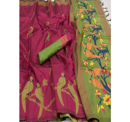 Beautiful Pink Handloom Raw Silk Weaving Saree