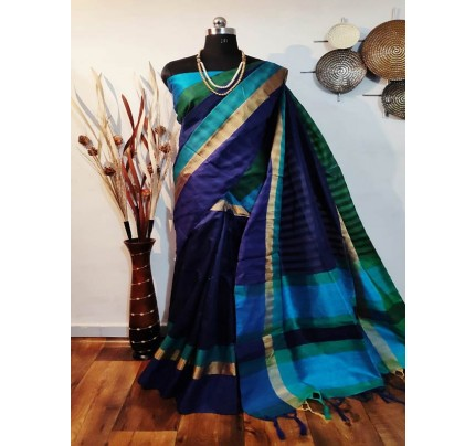 New Eye Catcher Multi Color Raw Silk Saree With mutli color border