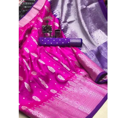 Graceful combination Pink Color Lichi Silk with beautiful zari weaving Border