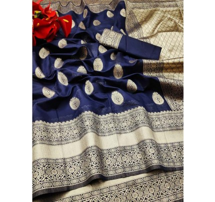 New Trending Blue Colour Soft Cotton Silk Saree  with all over Jacquard weaving Butta