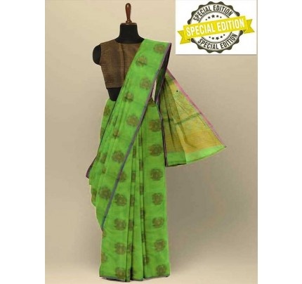 Elegance Look Green Colour Soft Cotton Silk Saree