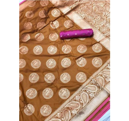 Stunning Look Golden Colour Soft Banarasi silk weaving saree