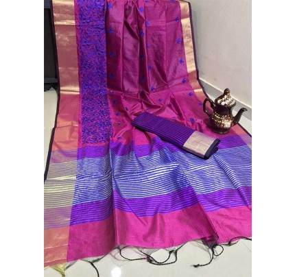 Graceful Look Purple Color Crystal Silk Saree with Embroidered work