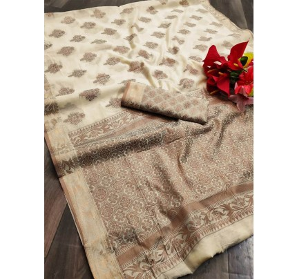 Stylish Look Pure Soft Cotton Silk Saree  With All Over Jequared Weaving Butta