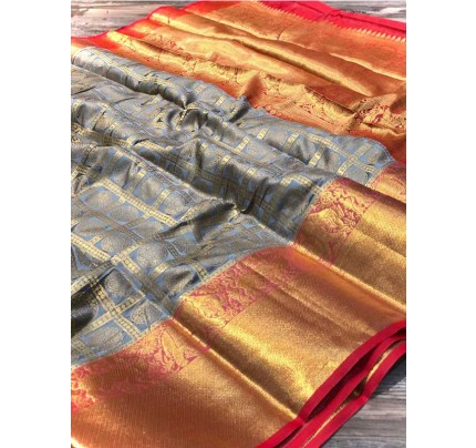 Attractive Look Grey Colour  Banarasi Silk With Beautiful Zari  Work Saree