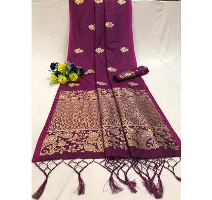 Attractive Look Purple Colour Soft Banarasi Silk Saree with Silver and Gold Zari weaving Pallu