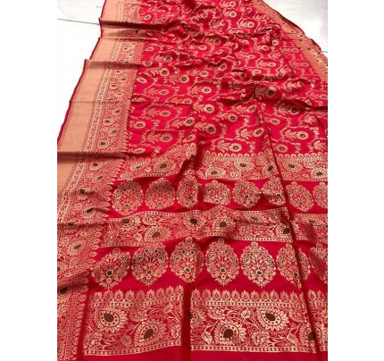 Stunning Look Red  Colour Soft Banarasi Silk Weaving Saree