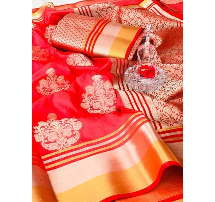 Rich Look Pink Colour Soft Banarasi Silk Weaving Work Saree