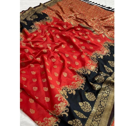 Wedding Look Red color Pure Jacquard Fabrics With Resham Zari Work Saree