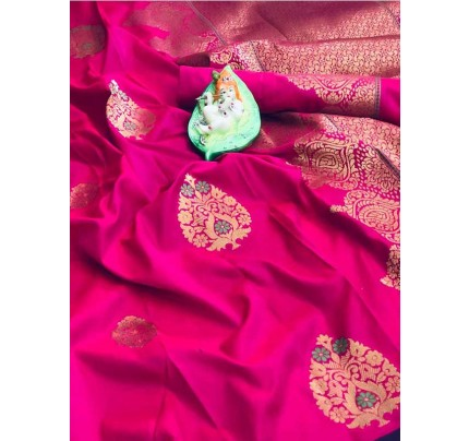 Stunning Look Pink Colour Soft Banarasi silk weaving saree with pure zari woven pallu
