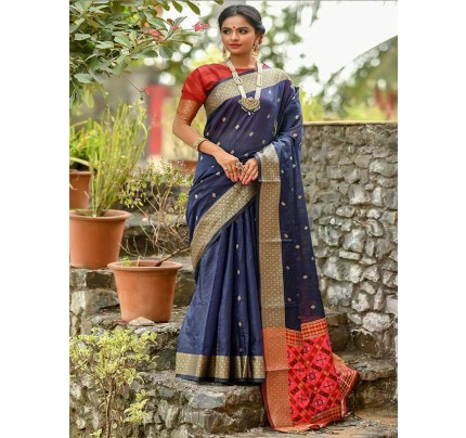 Wedding wear Blue color Soft Cotton Silk weaving Saree