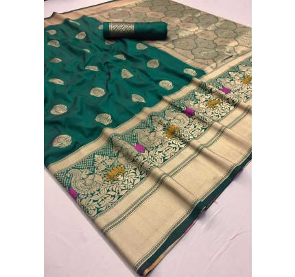 New Eye Catcher Green Color Pure & Soft Silk With Beautiful Mina Saree