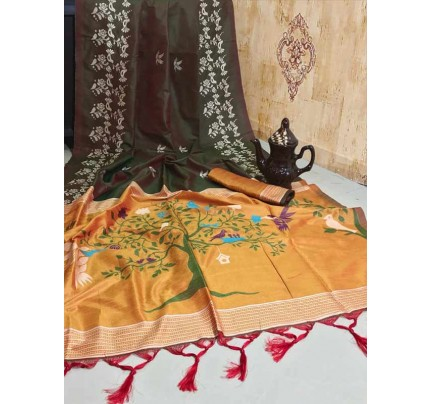 New Eye Catcher Brown Color Soft Raw Silk Two Tone Weaving Saree