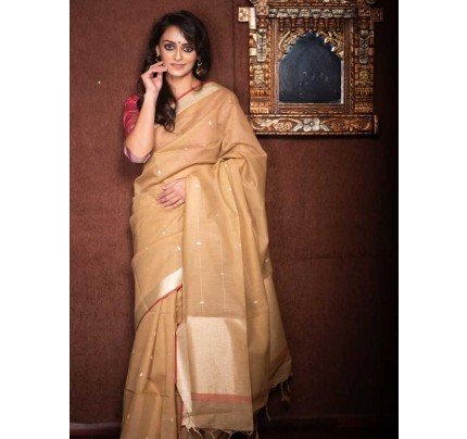 Stunning Cream Color Linen Silk Saree With Silver Zari Checks