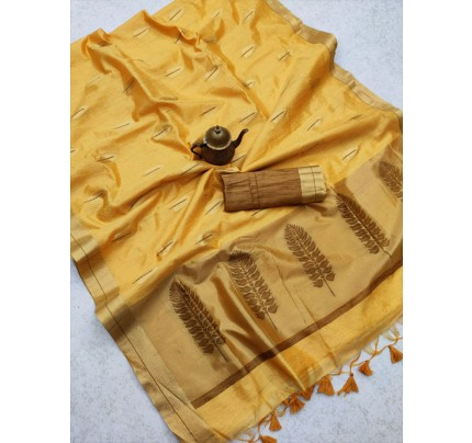 Stunning Look Linen Saree with Gorgeous Zari Weaving Pallu