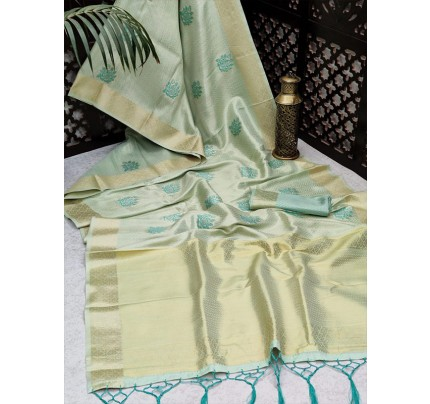 Modern Look Soft Tissue Linen Silk Saree with Zari woven butti all over