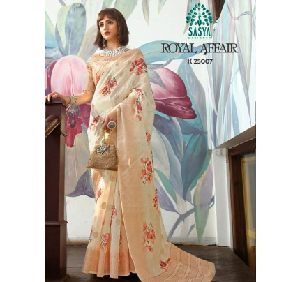 Stunning Look Cream Color Pure Cotton Printed Saree with Jacquard weaving Border