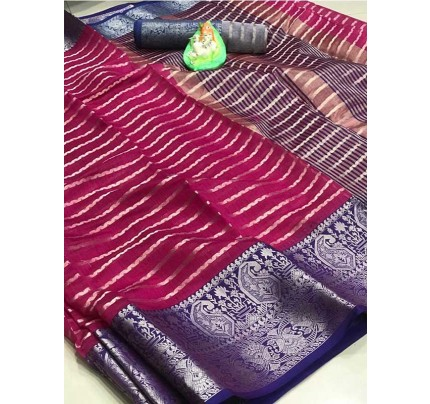 Elegance Look Pink Colored Soft Cotton Weaving Saree