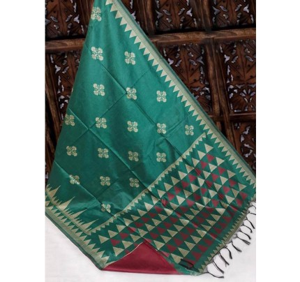 Beautiful Cyan Handloom Raw Silk Weaving Saree With All Over Resham Weaving
