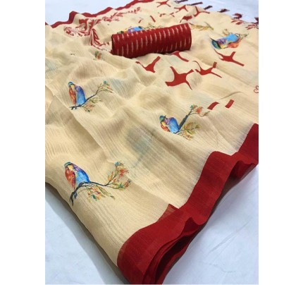 Stunning Cream Color Soft Cotton Fabric Printed Saree