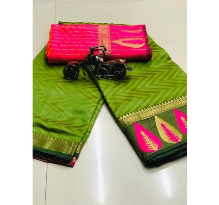 Elegance Look Green Colour Cotton Saree with weaving border