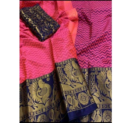 Elegance Look Pink Colored Rich Cotton  Saree