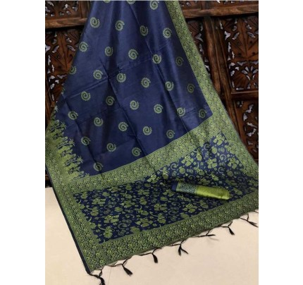 New Eye Catcher Blue Color Handloom Raw Silk Saree With  Weaves Saree