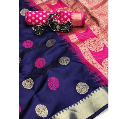 Graceful combination for Wedding Look Blue Color Lichi Silk weaving jacquard Saree