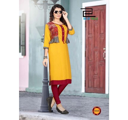 Yellow color Heavy Rayon Printed Kurti With Hand Work