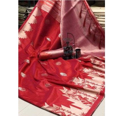 Stunning Red Color Ekkat Silk Rich Pallu Weaving Border  All Over Nice Designing Saree With Weaving Blouse