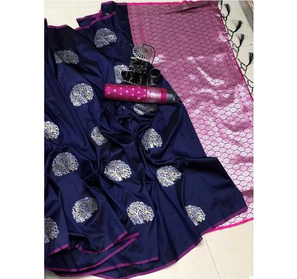 Graceful combination for Wedding Look Blue Color Lichi Silk Weaving Jecard Saree With Beautiful Wiaving Blouse
