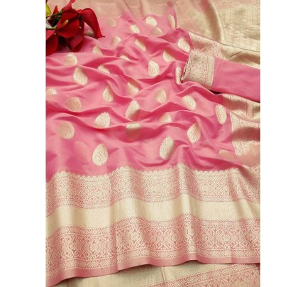 New Trending Pink Colour Soft Cotton Silk Saree  with all over Jacquard weaving Butta