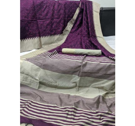 Beautiful Purple Colour Handloom Raw Silk Saree With Embroidered Cut Work All Over
