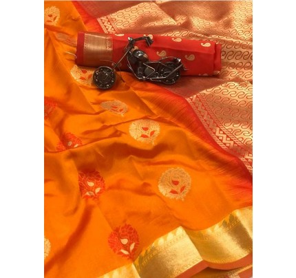 Orange Color Lichi Silk Saree With Zari Weaving Butta on Saree