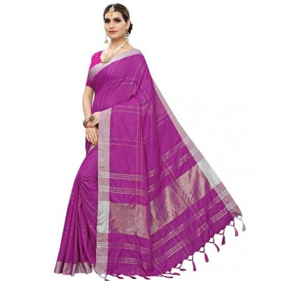New Trending Purple Color Linen Cotton Silk Printed Saree