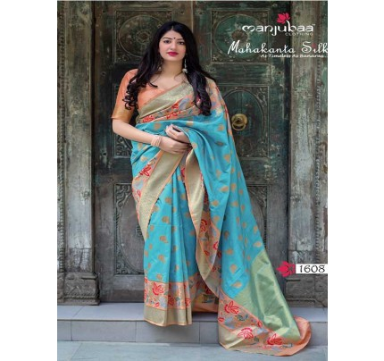 Latest Traditional Look Cyan Color Pure Jamdani Silk with Minakari Weaving Saree