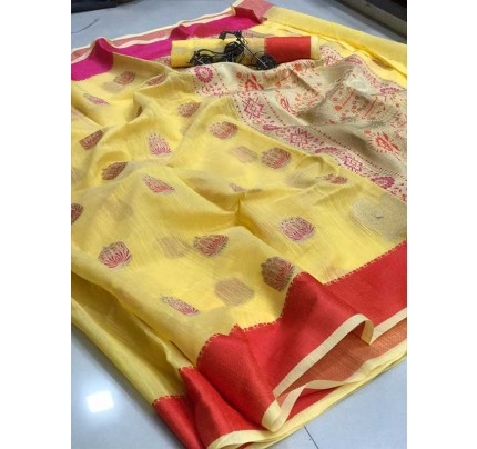 Wedding Look Yellow Color Soft Linen Silk Saree