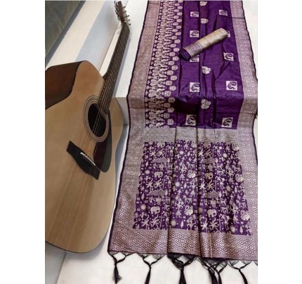 Beautiful Purple Handloom raw Silk Weaving Saree with kalamkari  woven pallu