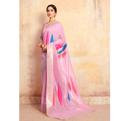 Bollywood Look Pink Color Krystal Silk with Rich Pallu Design Saree