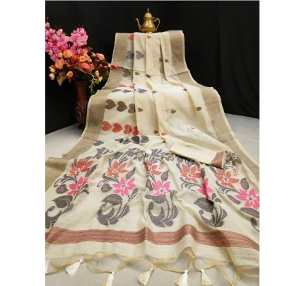 Pure Chanderi Cotton Saree with  Beautiful Jacqurad work