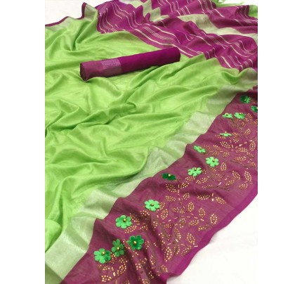 Wedding Look Multi Color Soft Linen Silk Saree