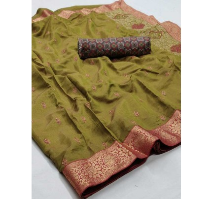 Beautiful Look Green Color Pure Linen Saree